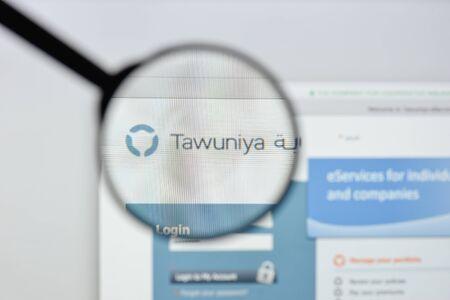 Milan, Italy - August 20, 2018: Tawuniya website homepage. Tawuniya logo visible. Editorial