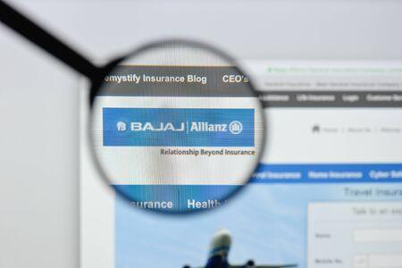 Milan, Italy - August 20, 2018: Bajaj Allianz GIC website homepage. Bajaj Allianz GIC logo visible.