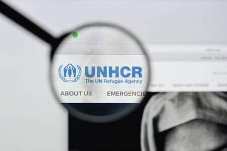 Milan, Italy - August 20, 2018: UN Refugee Agency website homepage. UN Refugee Agency logo visible.
