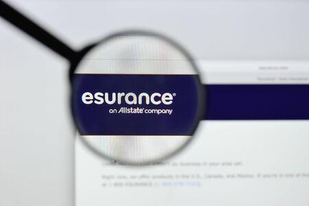 Milan, Italy - August 20, 2018: Esurance website homepage. Esurance logo visible.