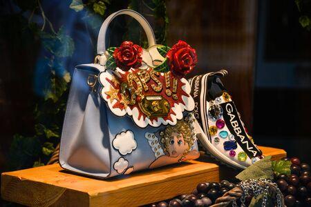 Milan, Italy - September 21, 2018: Dolce Gabbana store in Milan. Montenapoleone area. Fashion week Dolce Gabbana Editorial