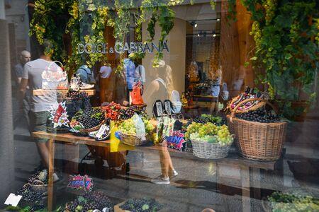Milan, Italy - September 21, 2018: Dolce Gabbana store in Milan. Montenapoleone area. Fashion week Dolce Gabbana shopping.
