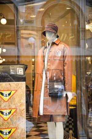 Milan, Italy - September 21, 2018: Prada store in Milan. Montenapoleone area. Fashion week Prada shopping. Editorial