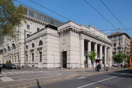Milan, Italy - 30 June 2019: View of Palazzo delle Poste, ferrante aporti street