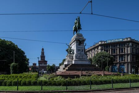 Milan, Italy - 30 June 2019: View of Sculpture - Garibaldi