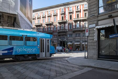 Milan, Italy - 30 June 2019: View of Tram milanesi