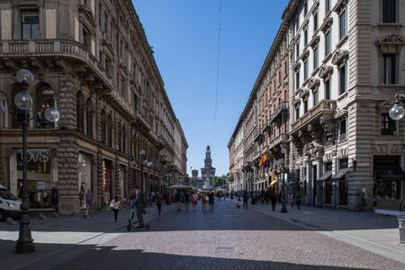 Milan, Italy - 30 June 2019: View of Via Dante street