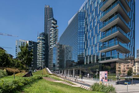 Milan, Italy - 30 June 2019: View of Porta Nuova area modern architectures Editöryel