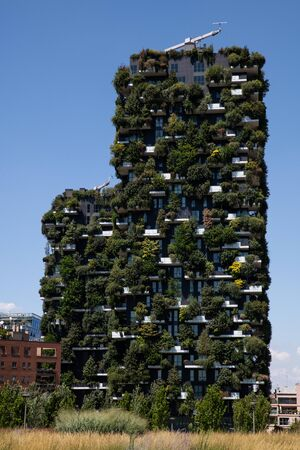 Milan, Italy - 30 June 2019: View of Vertical Forest - Bosco verticale