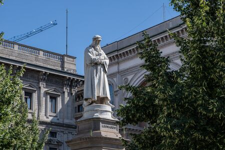 Milan, Italy - 30 June 2019: View of Sculpture - Leonardo da Vinci, Piazza della Scala Editöryel