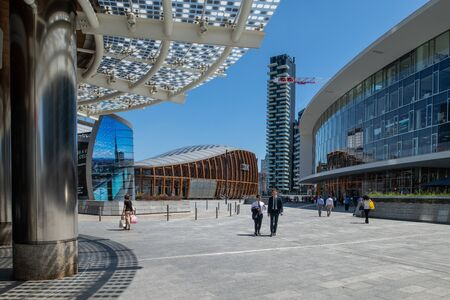 Milan, Italy - 30 June 2019: View of Piazza Gae Aulenti, Skyscrapers Editöryel