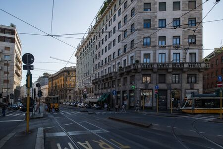 Milan, Italy - 30 June 2019: View of Via Larga Street Editöryel