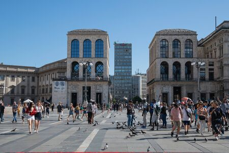 Milan, Italy - 30 June 2019: View of Tourists in Milan
