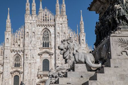 Milan, Italy - 30 June 2019: View of Sculpture - Lion - Piazza Duomo