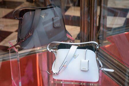 Milan, Italy – September 21, 2019: Prada store in Milan. Montenapoleone area. Fashion week shopping