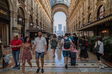 Milan, Italy - 30 June 2019: View of Tourists in Milan