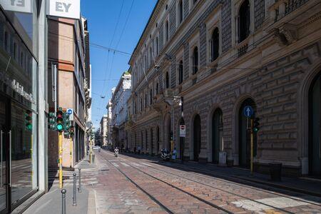 Milan, Italy - 30 June 2019: View of Via Meravigli street