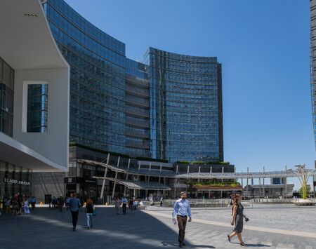 Milan, Italy - 30 June 2019: View of Piazza Gae Aulenti, Skyscrapers Redactioneel