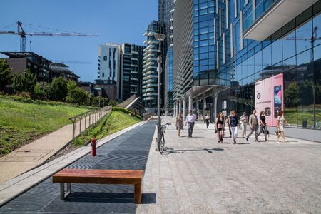 Milan, Italy - 30 June 2019: View of Porta Nuova area modern architectures Redactioneel