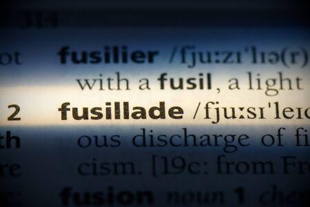 fusillade word in a dictionary. fusillade concept, definition. Stok Fotoğraf