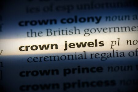 crown word in a dictionary. crown concept, definition. Stock Photo