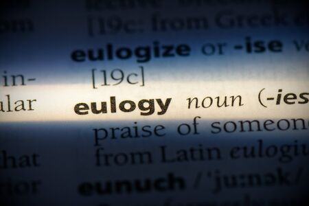 eulogy word in a dictionary. eulogy concept, definition.