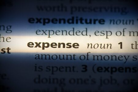 expense word in a dictionary. expense concept, definition.
