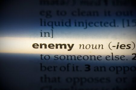 enemy word in a dictionary. enemy concept, definition.