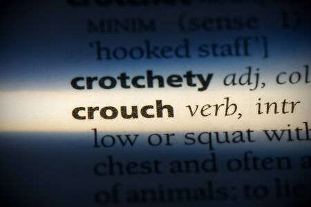 crouch word in a dictionary. crouch concept, definition.