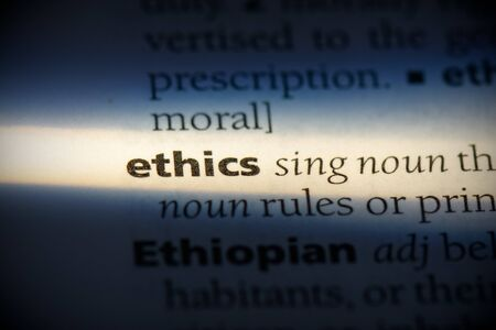ethics word in a dictionary. ethics concept, definition. Stock Photo