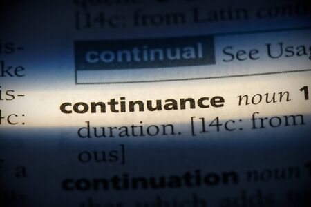 continuance word in a dictionary. continuance concept, definition.