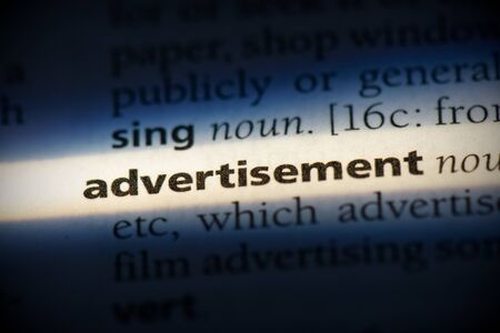 advertisment word in a dictionary. advertisment concept, definition. Stock Photo