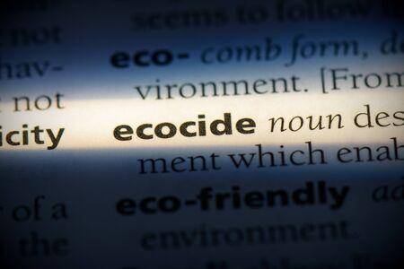 parola di ecocidio in un dizionario. concetto di ecocidio, definizione. Archivio Fotografico
