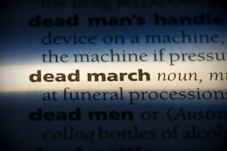 dead march word in a dictionary. dead march concept, definition. Banco de Imagens