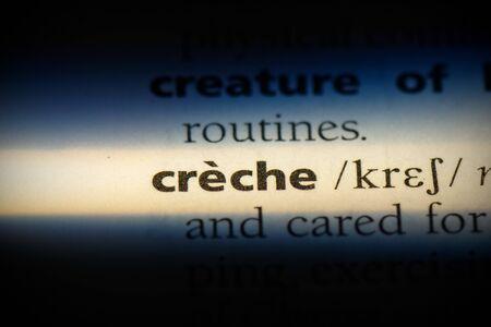 creche word in a dictionary. creche concept, definition.