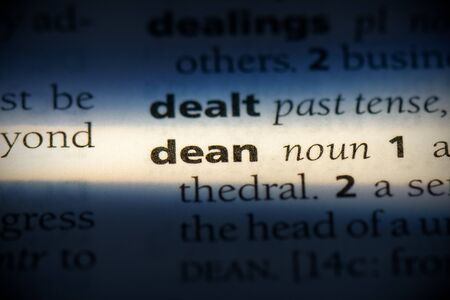 dean word in a dictionary. dean concept, definition. Stock Photo