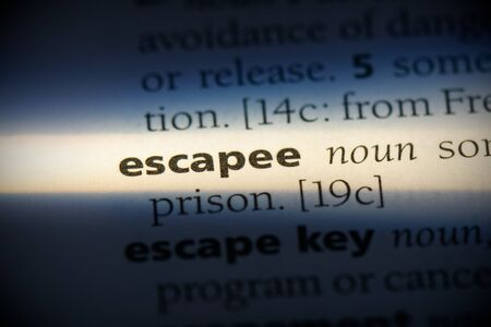 escapee word in a dictionary. escapee concept, definition. Stock Photo