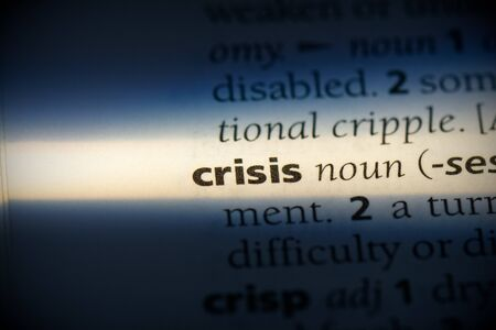 crisis word in a dictionary. crisis concept, definition.