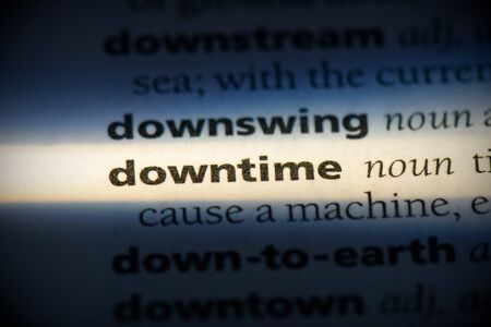 downtime word in a dictionary. downtime concept, definition.