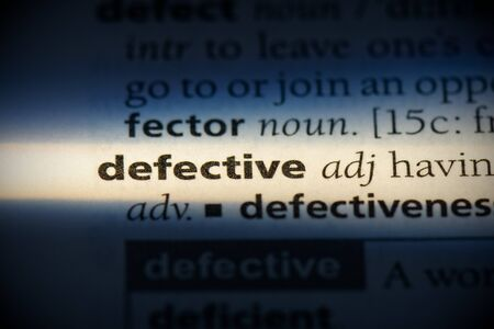 defective word in a dictionary. defective concept, definition. Stock Photo