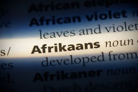 afrikaans word in a dictionary. afrikaans concept, definition.