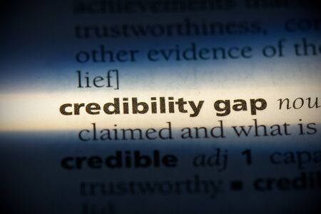 credibility gap word in a dictionary. credibility gap concept, definition.