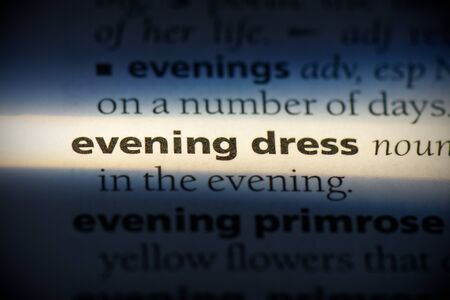 evening dress word in a dictionary. evening dress concept, definition.
