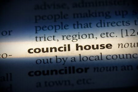 council house word in a dictionary. council house concept, definition.