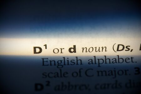 d word in a dictionary. d concept, definition.