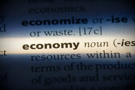 economy word in a dictionary. economy concept, definition.