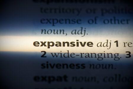 palabra expansiva en un diccionario. concepto expansivo, definición.