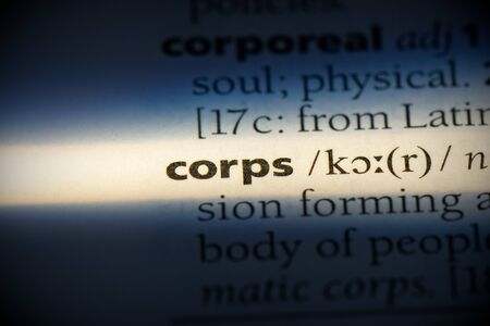 corps word in a dictionary. corps concept, definition. Stock Photo