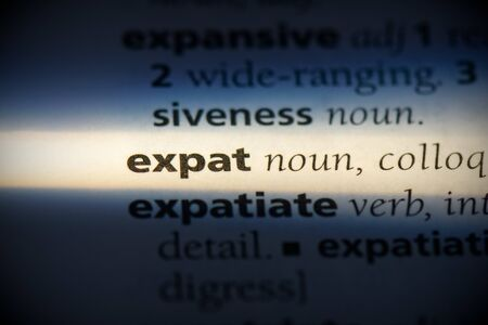 expat word in a dictionary. expat concept, definition.