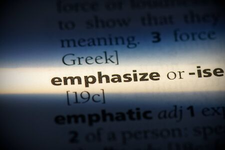 emphasize word in a dictionary. emphasize concept, definition.